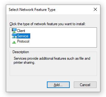 addnetworkservice